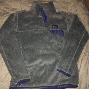 grey and purple patagonia sweater/sweatshirt